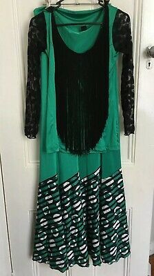 el Agua custom genuine flamenco performance costume fringing green black top 12