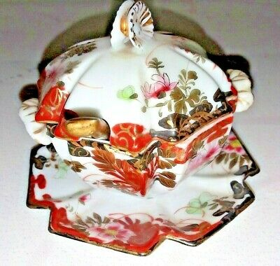 Oriental Porcelain Tiny Sugar Bowl W/Spoon & Lid Hand Painted Old