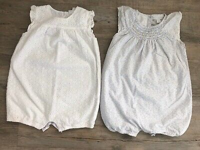 The Little White Company Girls Rompers X2 12-18 Months