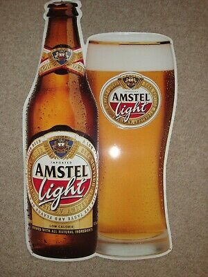 """Amstel Light Beer Metal SIgn 23 1/2"""" x 13 1/2"""" GUC Dated 1999"""