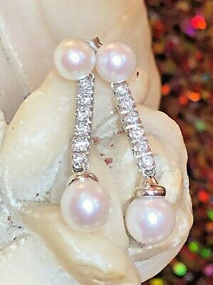Vintage Estate 14K White Gold Natural  Diamond  Pearl Earrings Wedding