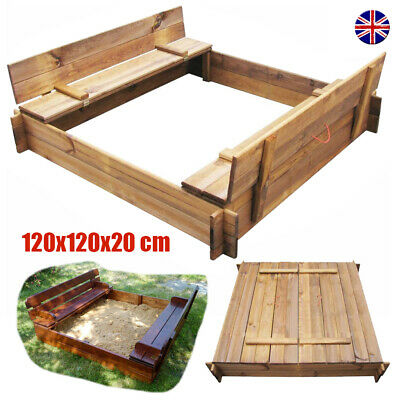 Kids Wooden Sand Pit Sand Box Closed Bench Outdoor Garden Play Set Sandpit Toy