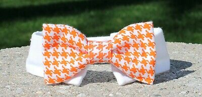 New Cat Small Dog Orange Houndstooth Cotton Bow Tie & White Shirt Collar