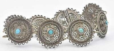 Antique Solid Silver filigree European Style Pin clasp Turquoise Ladies bracelet