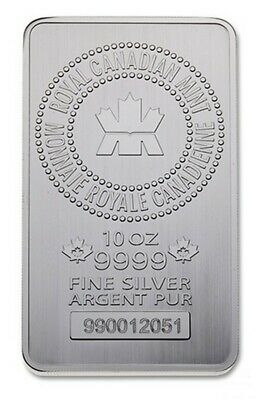 10 oz Royal Canadian Mint Silver Bar .9999 - Sequential Serial Numbers Available