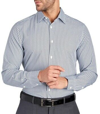 $79 NWT Mens PERRY ELLIS Travel LUXE Arrow Woven Shirt Total Stretch Slim Fit
