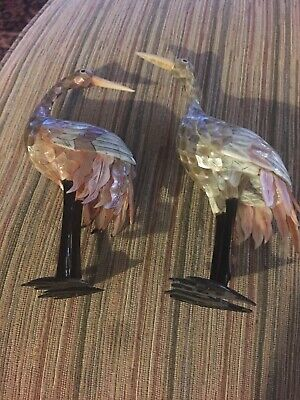 Pair Of Shell Art Crains With Abalone Hand Carved Approx. 6 Inches Tall