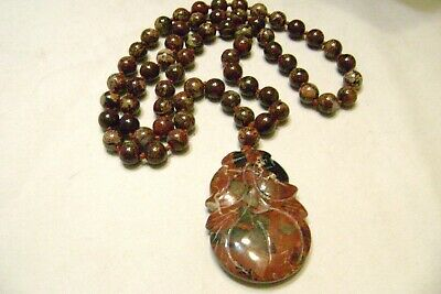 "Vintage Jasper Bead 34"" Necklace w/Lg Hand Carved Jasper Pendant Hand Knotted"