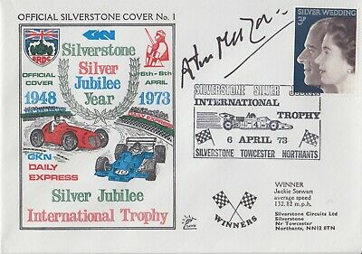 Arturo Merzario Hand Signed Silverstone Silver Jubilee Year First Day Cover.