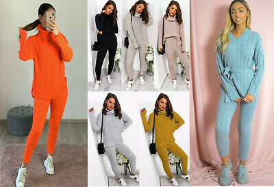 Womens ladies chunky knitted high roll neck top bottom loungewear tracksuit set