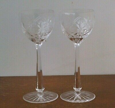 Vintage Bohemian Hand Cut 24% Lead Crystal Large Champagne Glasses x 2 # 2.