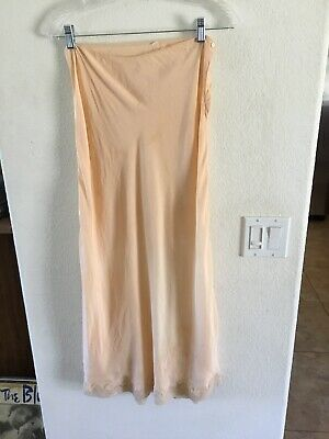 Vintage 1930's Bias Cut Long Slip Peach Silk Size Small