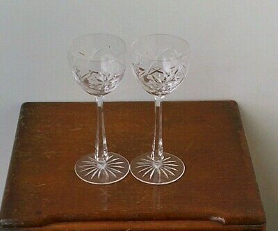Vintage Bohemian Hand Cut 24% Lead Crystal Large Champagne Glasses x 2 # 3.