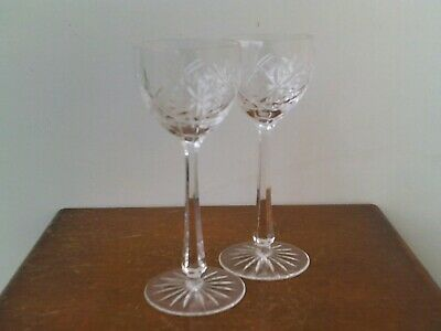 Vintage Bohemian Hand Cut 24% Lead Crystal Large Champagne Glasses x 2 # 4.