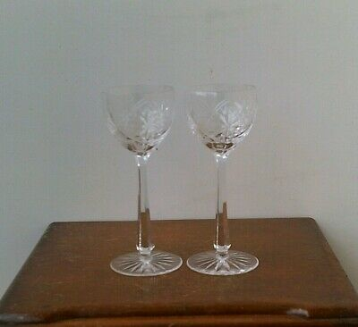 Vintage Bohemian Hand Cut 24% Lead Crystal Large Champagne Glasses x 2 # 5.