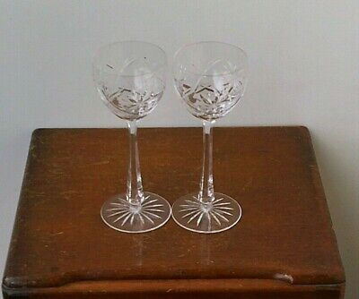 Vintage Bohemian Hand Cut 24% Lead Crystal Large Champagne Glasses x 2 # 6.