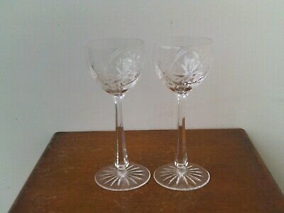 Vintage Bohemian Hand Cut 24% Lead Crystal Large Champagne Glasses x 2 # 1.