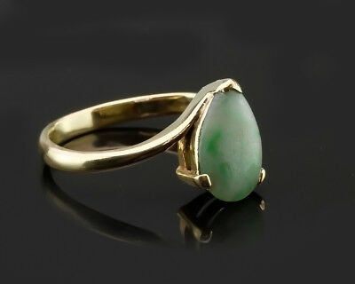 Vintage Jade / Jadeite - 585 / 14k Solid Yellow Gold Ring, Size 8.75