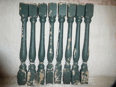 ANTIQUE 8 ARCHITECTURAL WOOD STAIRCASE BALUSTER SPINDLE COLUMNS in CHIPPY PAINT