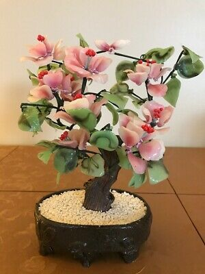 Vintage Glass Chinese Bonsai Blossom Tree with Brown Potted Base