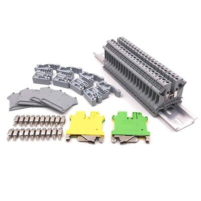 Din Rail Terminal Blocks Kit,Uk5N Terminal +Ground Blocks+Aluminum Rail+D-UQ1Q7