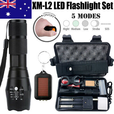 60000LM FLASHLIGHT CREE XM-L l2 LED RECHARGEABLE TACTICAL TORCH 2x 18650 BATTERY