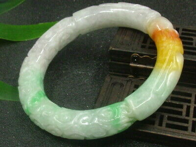 Antique Chinese Celadon Nephrite Grade A -jade bangle Dragon-RUYI bracelet