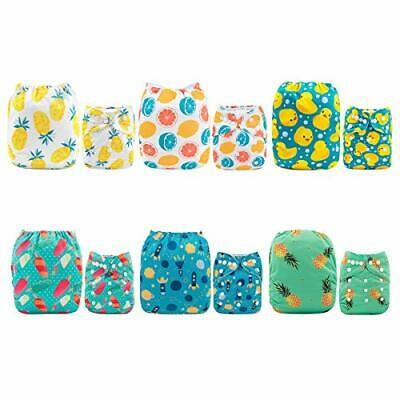ALVABABY Cloth Diaper, One Size Adjustable Washable (All in one|Sets 6dm05)