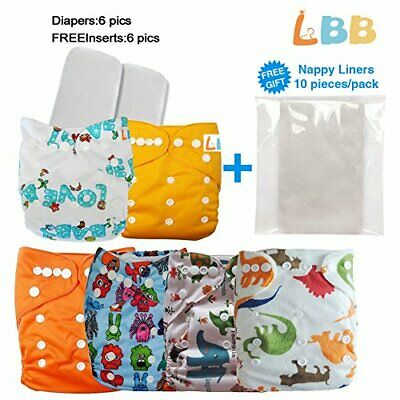Reusable Baby Cloth Pocket Diapers, 6 pcs + 6 Inserts, Aanimal, One (Aanimal)