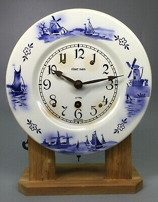 Delft Plate Eight Day Clock Round With Wooden Stand Germany