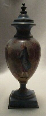 """Vintage French Urn Arisocrat Man, H.P. and Artist Signed Dumas, 8-3/4"""" Tall"""