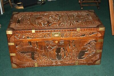 1930's Circa Hand Carved Asian Brown Trunk Table