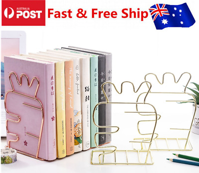 2x Metal Bookends Cartoon Shaped Home Office Stationery Supplies Nordic Style AU