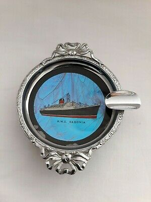 RMS SAXONIA Rare butterfly wing plated ashtray