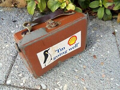 Vintage Mills & Wares biscuit case with Shell petrol sticker Not great condition