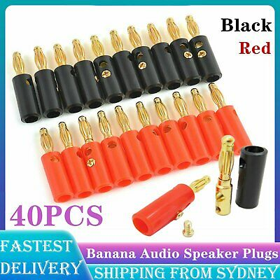 40 Pcs Black Red Connector 4mm Gold Plated Banana Audio Speaker Plugs Connector