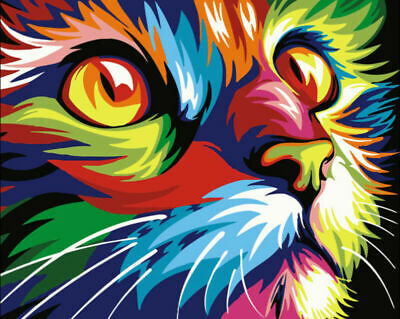 DIY Paint By Number Acrylic Oil Painting On Canvas Cat Kid Surprise