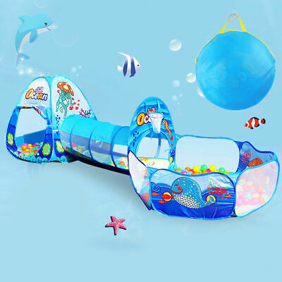 Portable 3 in 1 Childrens Kids Baby Play Tent Tunnel Ball Pit Playhouse Pop-Up