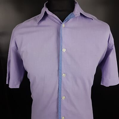 Polo Ralph Lauren Mens Vintage Shirt MEDIUM Short Sleeve Purple Regular Fit