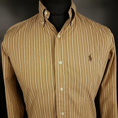 Polo Ralph Lauren Mens Shirt SMALL Long Sleeve Beige Custom Fit Striped Cotton