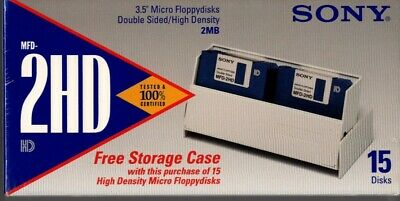 SONY pack of 15 Double Sided Micro FLOPPY DISKS, original sealed pack MF-2HD 2mb