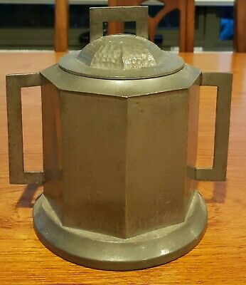 Antique English Arts and Craft hand beaten Pewter Tea Caddy.