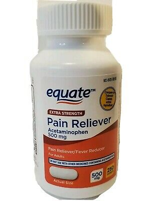 Equate Acetaminophen Compare To Tylenol Extra Strength 500mg 250 Caplets New