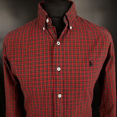 Polo Ralph Lauren Mens THICK Shirt LARGE Long Sleeve Red Custom Fit Check Cotton