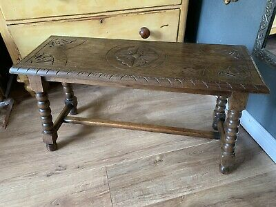 Fabulous Large 1930's Oak Carved Stool/Bench Bobbin Legs Lovely Patina