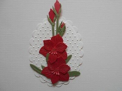 Die cuts - Embossed Hippeastrum - Assembled  Flowers Card Toppers Mats (3)