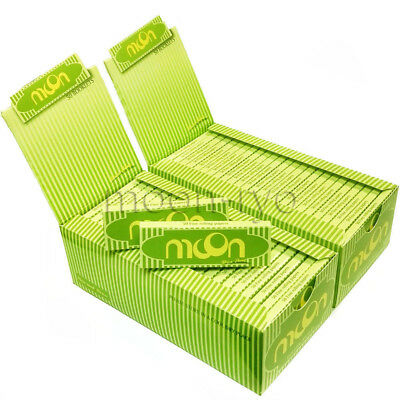 """Moon Green 1.0"""" 100 booklets 70*36mm Cigarette Tobacco Rolling Papers Hemp Paper"""