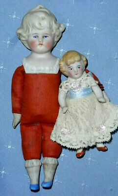 Two Antique Cabinet Size Dolls - Shoulder Head and All Bisque