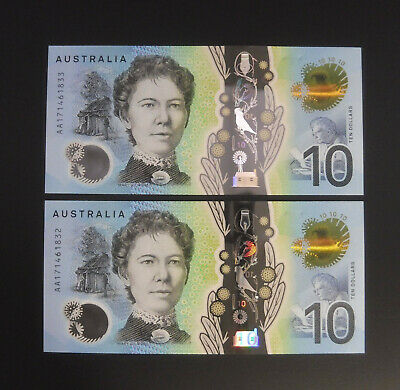 First Prefix 2017 $10 AA17 Consecutive Pair R325F UNC