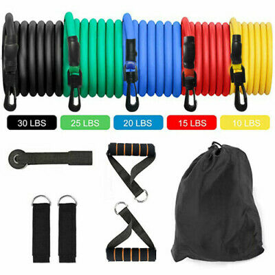 11Pcs Fitness Resistance Bands Gym Kit Tubes W/Handle Door Anchor Ankle Strap